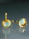 Vintage Gem Inlaid Women Earrings Synthetic Moonstone Pendant Earrings - Gold