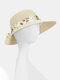 Women Dacron Floral Pattern Bandage Big Brim Sunscreen Breathable Woven Straw Hat - Yellow