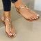 Large Size Women Casual Beach Lightweight Clip Toe Non Slip Flat Sandals - Gold