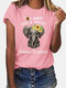 Printed O-Neck Short Sleeve Casual T-shirt For Women - Pink