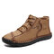 Men Comfy Microfiber Leather Slip Resistant Hand Stitching Ankle Boots - Brown