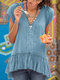 Solid Color Ruffled Hem Pleated Short Sleeve Blouse - Blue