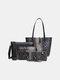 Women 4 PCS Snake Large Capacity Handbag Shoulder Bag - Gray