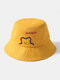 Unisex Cotton Bear Letter Pattern Embroidery Solid Color Cute Bucket Hat - Yellow