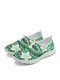 SOCOFY Large Size Fashion Sport Bohemian Printed Net Cloth Breathable Slip Resistant Comfy Slip On Walking Shoes Unisex Sneakers - Green