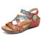 SOCOFY Handmade Leather Floral Hook Loop Ankle Strap Stitching Wedge Sandals - Red