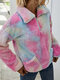 Plush Tie-dyed Print Long Sleeve Lapel Casual Sweatshirt For Women - Red