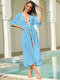 Women Solid Color Thin Chiffon Sun Protection Cover Up - Blue