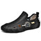 Men Large Size Breathable Hollow Out Comfy Cowhide Hand Stitching Shoes - Black