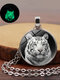 Vintage Glass Printed Women Necklace Luminous Tiger Head Pendant Sweater Chain Jewelry - Silver