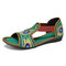 Elastic Band Peep Toe Handmade Embroidered Hollow Out Flat Sandals - Green