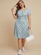 Blumendruck Kurzarm mit V-Ausschnitt und Blumendruck Plus Größe Kleid - Himmelblau