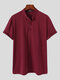 Plus Size Mens Solid Color Frog Button Casual Short Sleeve Henley Shirts - Wine Red