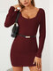 Solid Color Lace Patchwork Long Sleeve Mini Sexy Dress - Wine Red