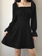 Solid Color Pleated Square Collar Long Sleeve Casual Dress for Women - Black