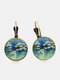 Vintage Geometric Round Alloy Glass Floral Pattern Print Earrings - Bronze