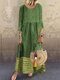 Casual Patchwork Solid Color Plus Size Dress for Women - Green