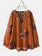 Calico Print O-neck Long Sleeve Casual Blouse For Women - Orange