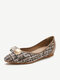 Women Fashion Plaid Pointed Toe Comfy Slip On Increased Heel Loafers - Brown