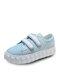 Women Hook & Loop Chiba Bird Pattern Casual Cavans Shoes - Blue