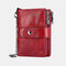 Women Genuine Leather RFID Anti-magnetic 13 Card Slots Wallet Purse - Red