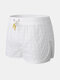 Mens Plaid Lightweight Pacthed Mesh Design Shorts Drawstring Swimming Swim Trunk With Compression Liner - White