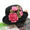 Women Embroidery Printed Straw Hat Ethnic Style Retro Sun Hat - Black