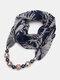 Vintage Chiffon Women Scarf Necklace Beaded Pendant Lattice Flowers Pattern Silk Scarf - #08