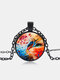 Vintage Glass Printed Women Necklace Colored Cat Flower Pendant Necklace Jewelry Gift - Black