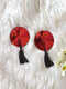 Women Round Shape Sequins Sexy Tassel Silicone Nipples - Red
