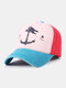 Unisex Distressed Cotton Contrast Color Patchwork Boat Anchor Stars Printed Sunscreen Baseball Caps - #03