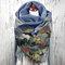 女性グラフィティ油絵プリントパターンマルチカラーSoftパーソナリティネックプロテクション保温スカーフ - 青い