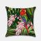 Tropical Flower Pillowcase Flamingo Parrot Leaf Digital Printing Linen Without Core - #1