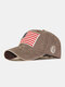 Men Washed Cotton Embroidery Baseball Cap Outdoor Sunshade Adjustable Hats - Coffee