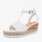 Women Slip Resistant Buckle Strsap Casual Platform Wedges Sandals - White