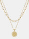 Luxury Layering Paperclip Chain Women Necklace 26 Initials Coin Pendant 14K Gold Plated Necklace Clavicle Chain - S