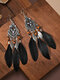 Alloy Vintage Ethnic Color Dipping Oil Heart-shaped Long Feather Earrings - Black