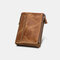 Men Genuine Leather RFID Anti-theft Multi-slots Retro Large Capacity Foldable Card Holder Wallet - Brown