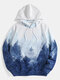 Mens All Over Forest Landscape Print Casual Drawstring Hoodies - Blue