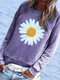 Daisy Floral Printed Long Sleeve O-neck Casual Blouse - Purple