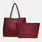 Women 2 PCS Multi-pocket Large Capacity Removable Key Multifunctional Handbag Tote - Wine Red