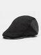 Men Woolen Cloth Patchwork PU Hat Brim Casual Warmth Beret Flat Cap - Black