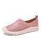 LOSTISY Women Splicing Comfy Hollow Breathable Casual Flats - Pink