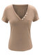 V-neck Button Short Sleeves Casual T-shirt For Women - #01
