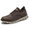 Men Breathable Lace-up Round Toe Non Slip Casaul Business Shoes - Coffee