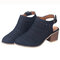 Women Hollow Chunky Heel Comfy Ankle Buckle Strap Slingback Sandals - Black