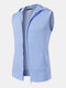 Mens Pure Color Cotton Casual Sleevless Hooded Vests With Pocket - Blue