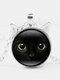 Vintage Black Cat Face Printed Women Necklace Cat Ear Pendant Sweater Chain - Silver