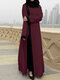 Solid Color Patchwork Contrast Long Sleeve Button Dress - Wine Red