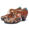 SOCOFY Vintage Paisley Splicing Leather Cutout Lace up Chunky Heel Pumps - Coffee